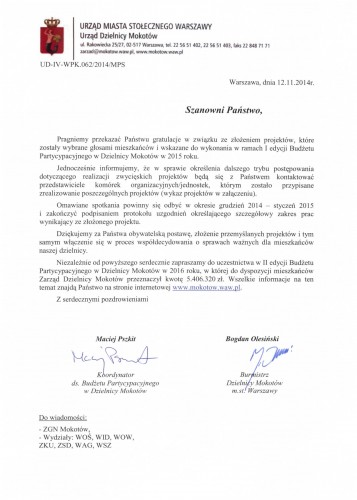 Pismo zwycięskie projekty BP 2015