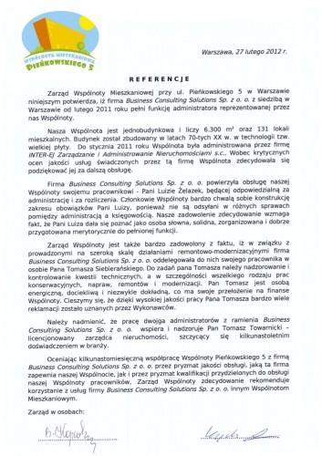 Zarządzanie nieruchomościami wspólnot-Referencje-Pieńkowskiego 5